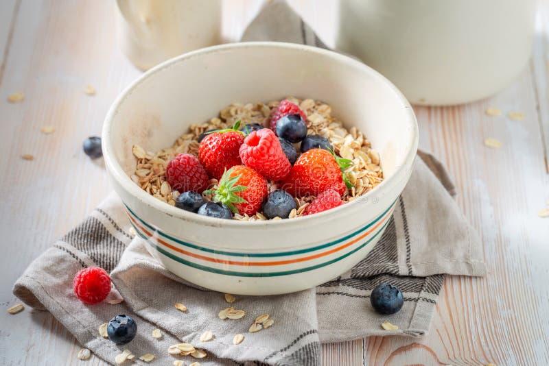 Smakelijke granola met bessen voor ontbijt stock fotografie