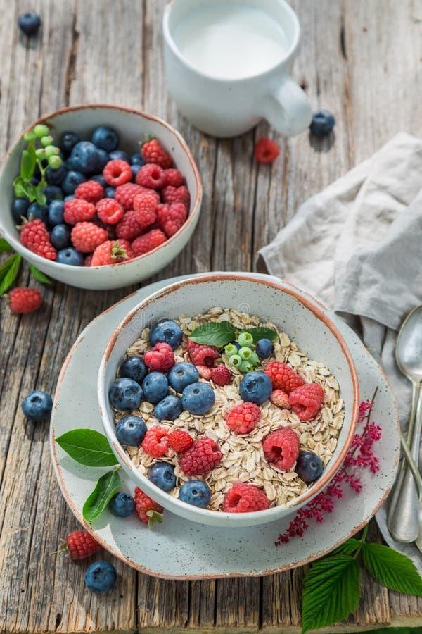 Smakelijke granola met melk en verse bessen stock afbeelding