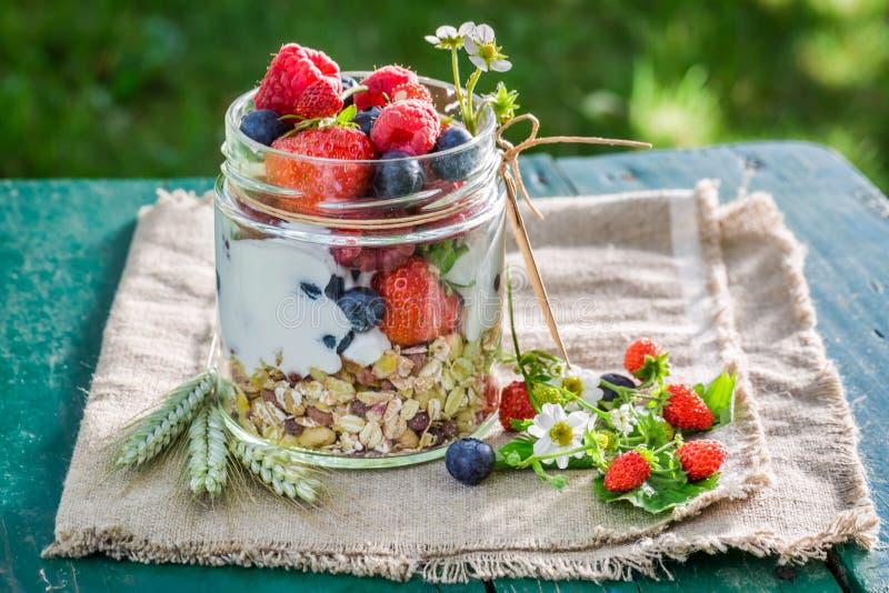 Smakelijke granola met yoghurt en bessen in zonnige dag royalty-vrije stock foto's