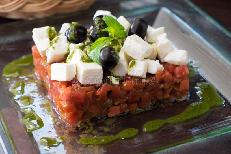 Smakelijke Griekse salade royalty-vrije stock afbeelding