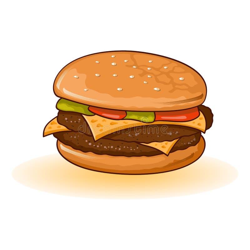 Smakelijke grote dubbele cheeseburger met rundvleespasteitjes of lapje vlees, kaas, tomaten, groenten in het zuur, sla royalty-vrije illustratie