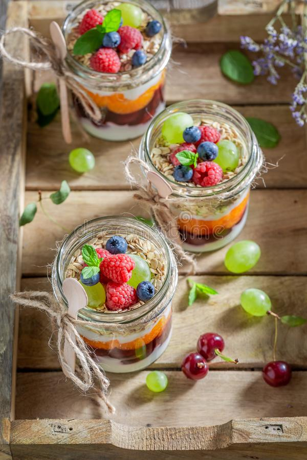 Smakelijke havervlokken met verse bessen en yoghurt in kruik royalty-vrije stock fotografie