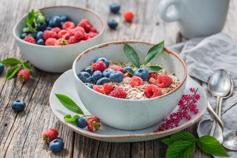 Smakelijke havervlokken voor ontbijt in de zomertuin royalty-vrije stock foto