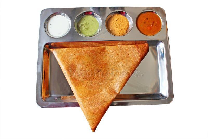 Smakelijke, heerlijke driehoekige Indische masaladosa stock foto's