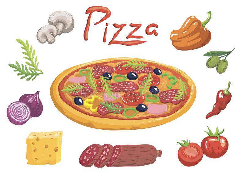 Smakelijke Italiaanse pizza en ingrediënten voor zijn voorbereiding vector illustratie