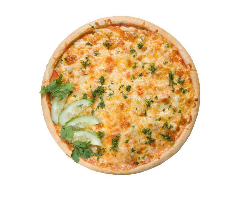 Smakelijke Italiaanse pizza met geworden koele komkommer stock foto's