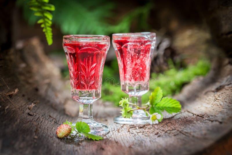 Smakelijke likeur die van wilde aardbei en alcohol wordt gemaakt stock foto