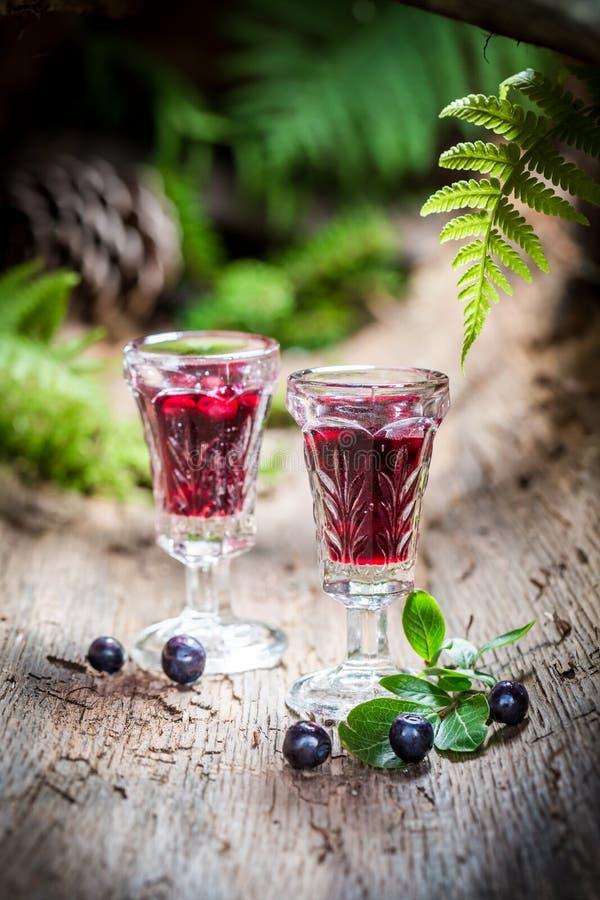 Smakelijke likeur met bosbessen en alcohol stock afbeelding