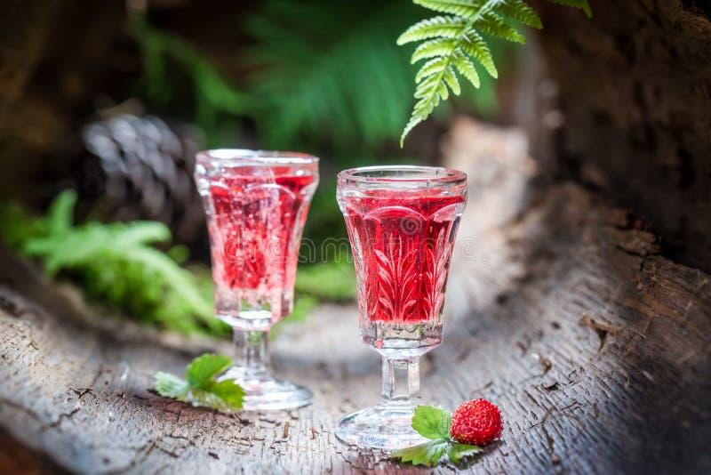 Smakelijke likeur met wilde aardbei en alcohol royalty-vrije stock fotografie