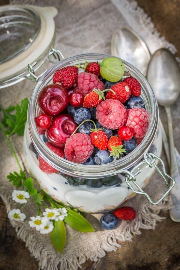 Smakelijke muesli met bloemen en vruchten stock afbeeldingen
