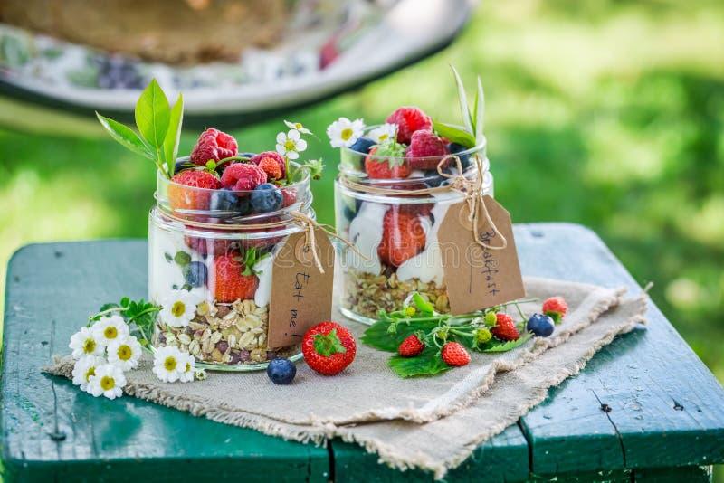 Smakelijke muesli met yoghurt en bessen in zonnige dag royalty-vrije stock afbeelding
