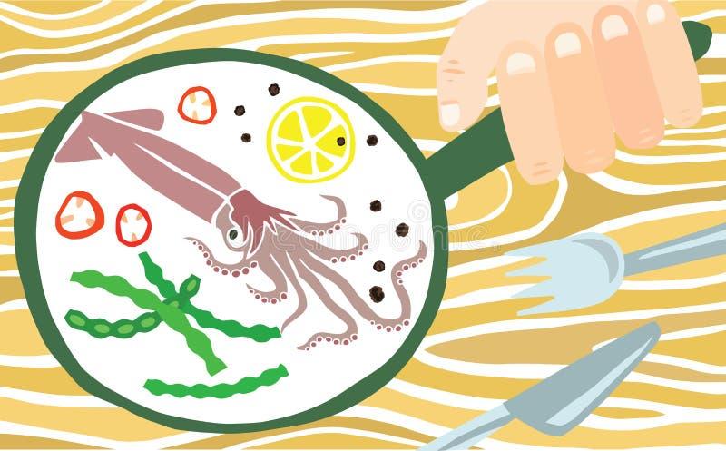 Smakelijke Pijlinktvis in een Pan stock illustratie