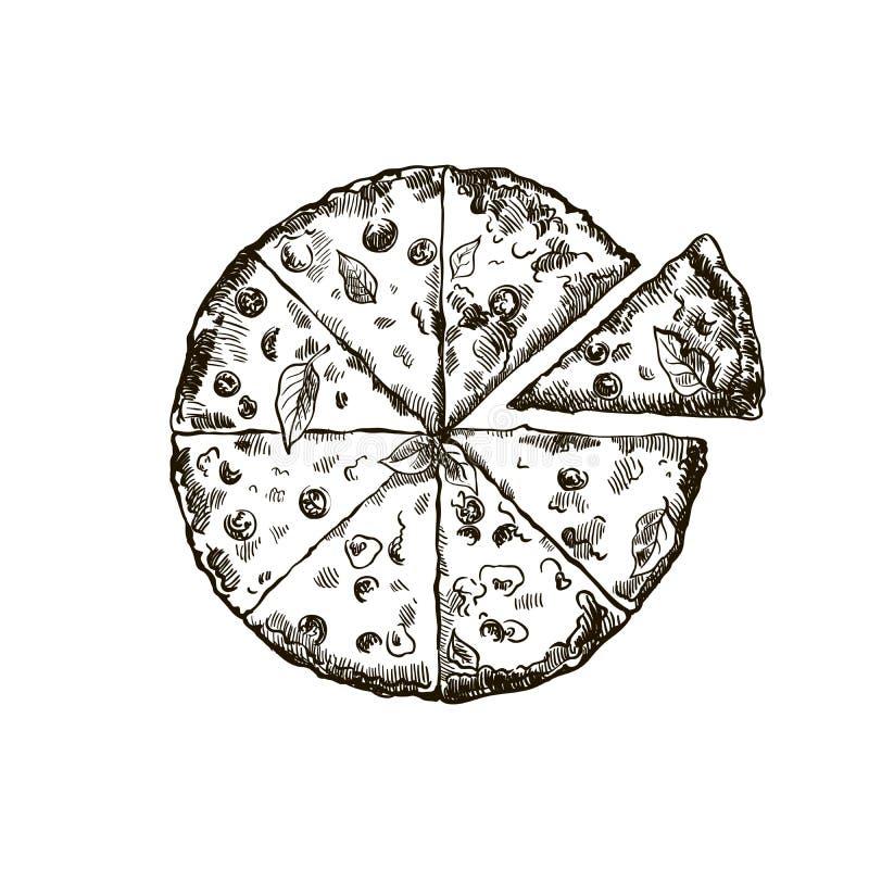Smakelijke pizza op een witte achtergrond vector illustratie