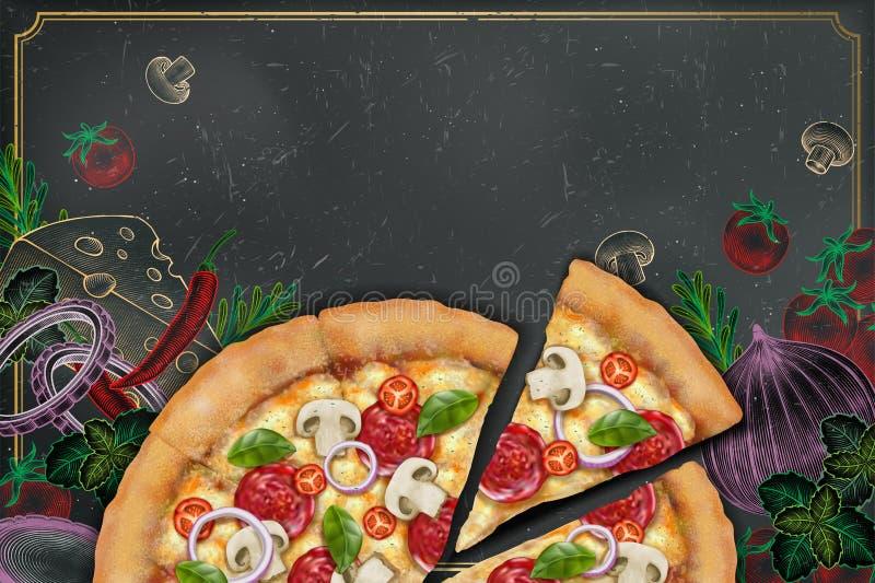 Smakelijke pizzaadvertenties royalty-vrije illustratie