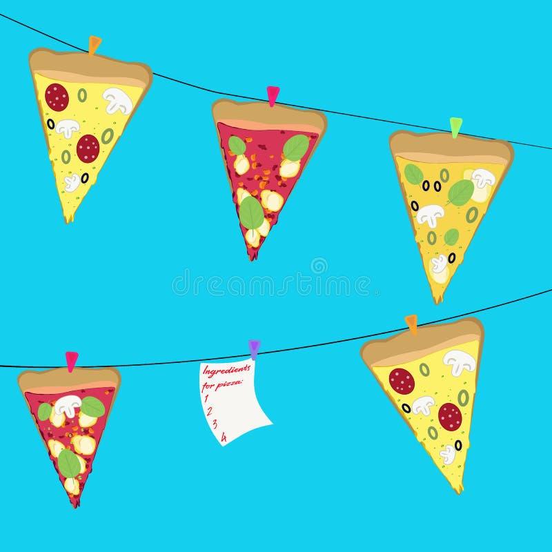 Smakelijke plakken van pizzaachtergrond royalty-vrije stock foto's