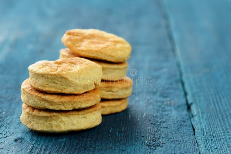 Smakelijke ronde eigengemaakte koekjes op diepe blauwe achtergrond stock afbeelding