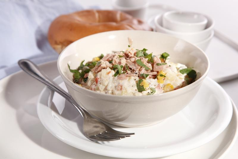 Smakelijke salade met tonijn royalty-vrije stock foto's