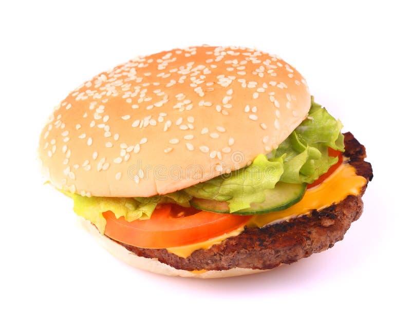Smakelijke sandwich op wit stock afbeeldingen