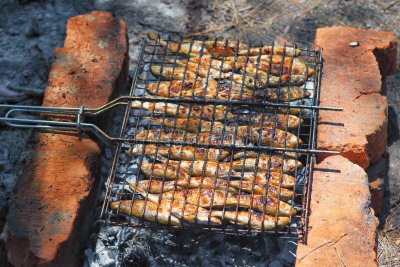 Smakelijke surmulletvissen in openlucht gekookt/gebraden/geroosterd/geroosterd die/op kampvuur worden gebakken Het heerlijke zeev stock fotografie