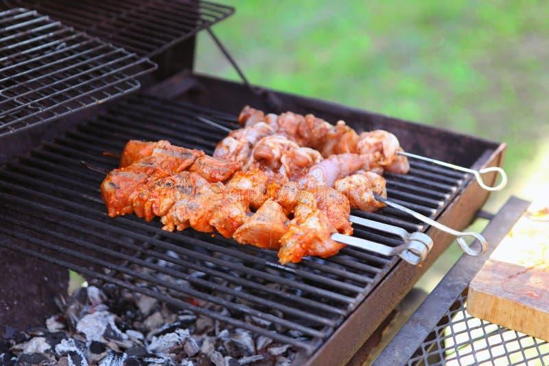 Smakelijke vleeslapjes vlees op de grill met steenkolen Heerlijke grill bij picknick stock afbeeldingen