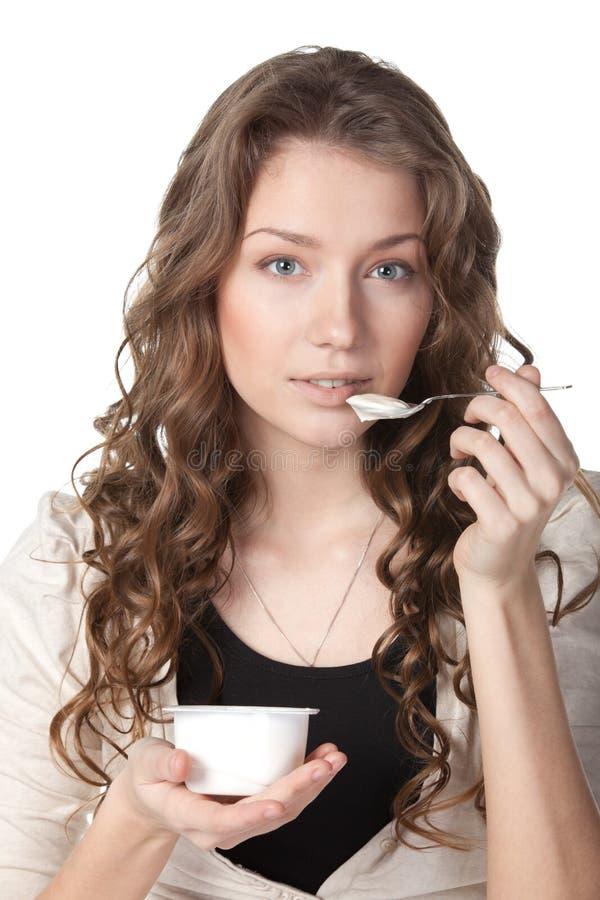 Smakelijke yoghurt stock foto's