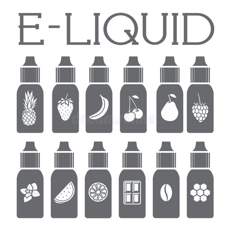 Smaken av den elektroniska cigaretten Flytande till vape vektor illustrationer