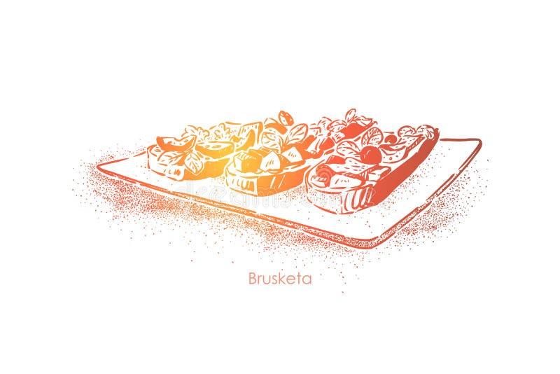 Smaklig bruschetta, grillade skivor för vitlökbröd med oljaoliv och grönsaker, läckert snabbt mellanmål royaltyfri illustrationer