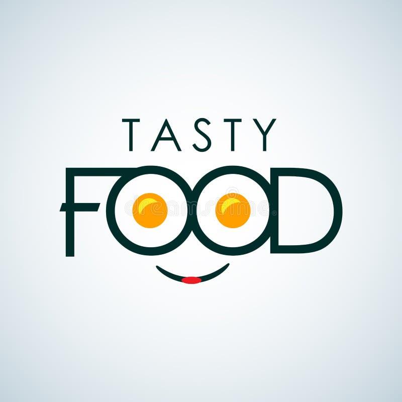 Smaklig design för symbol för matteckenlogo med omelettteckenmallen Snabbmat uttrycklig kafélogomall Vektorfärgemblem stock illustrationer