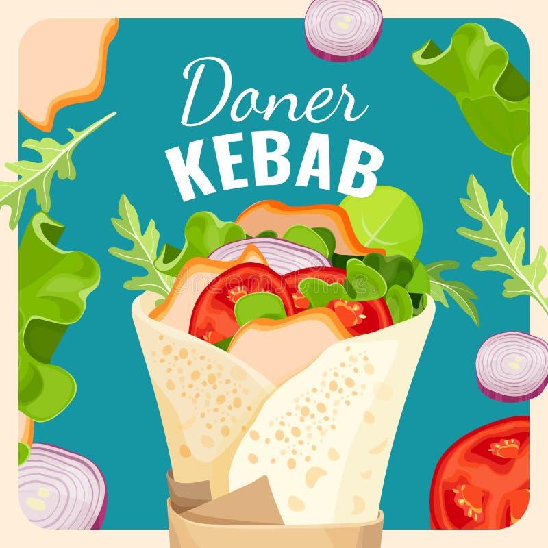 Smaklig donerkebab med höna och den befordrings- affischen för grönsaker stock illustrationer
