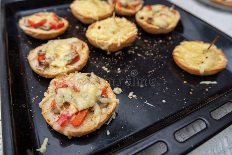 Smaklig eldfast form med ost på en bakplåt från ugnen Ett nytt mål som förbereds i ett hem- kök arkivbild