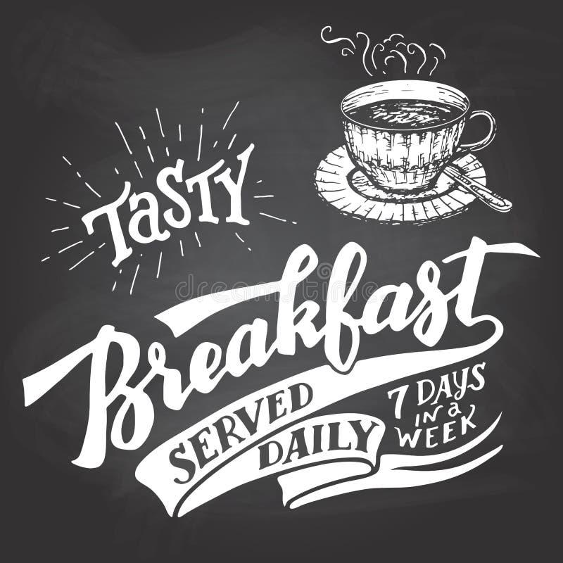 Smaklig frukost som tjänas som daglig svart tavlabokstäver royaltyfri illustrationer