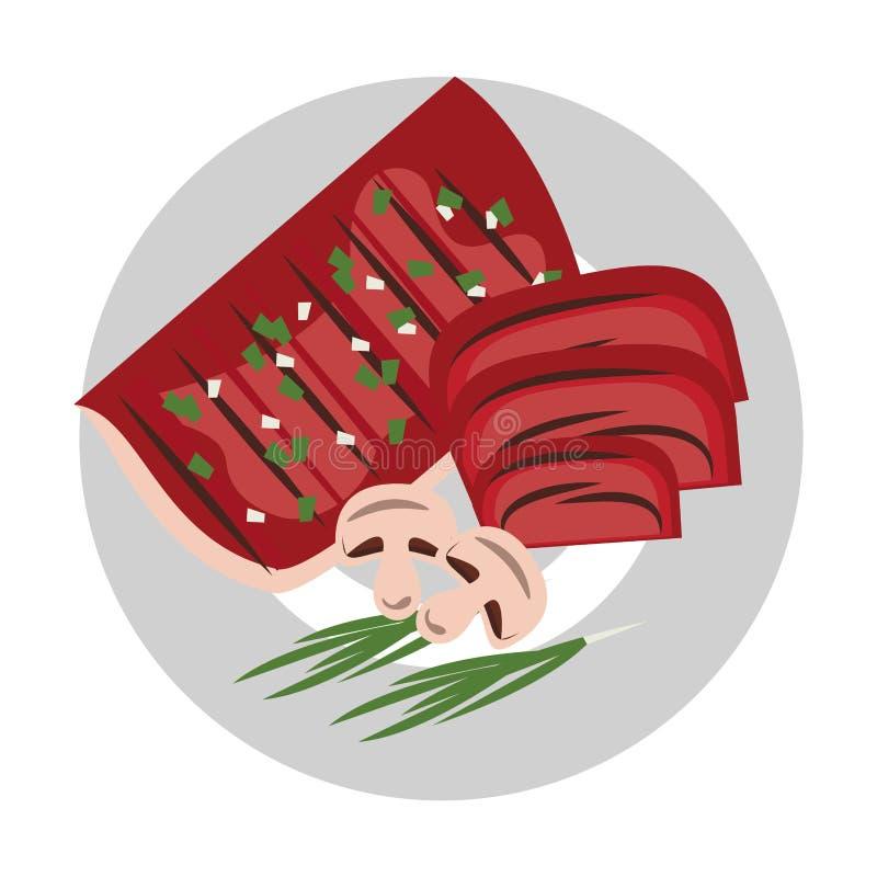Smaklig grillfest grillad mattecknad film stock illustrationer