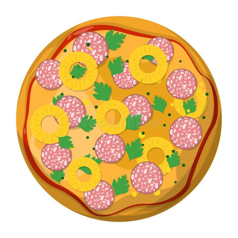 Smaklig l?cker pizzaskiva italienska matlagningmatingredienser Salami stock illustrationer