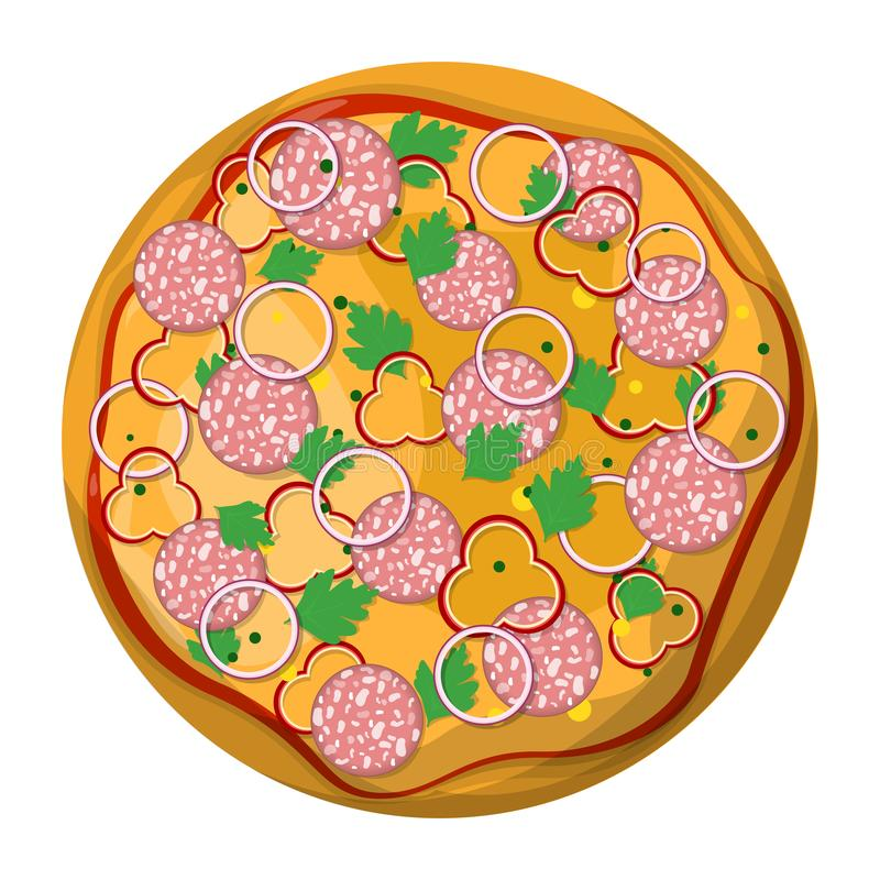 Smaklig l?cker pizzaskiva italienska matlagningmatingredienser Salami royaltyfri illustrationer
