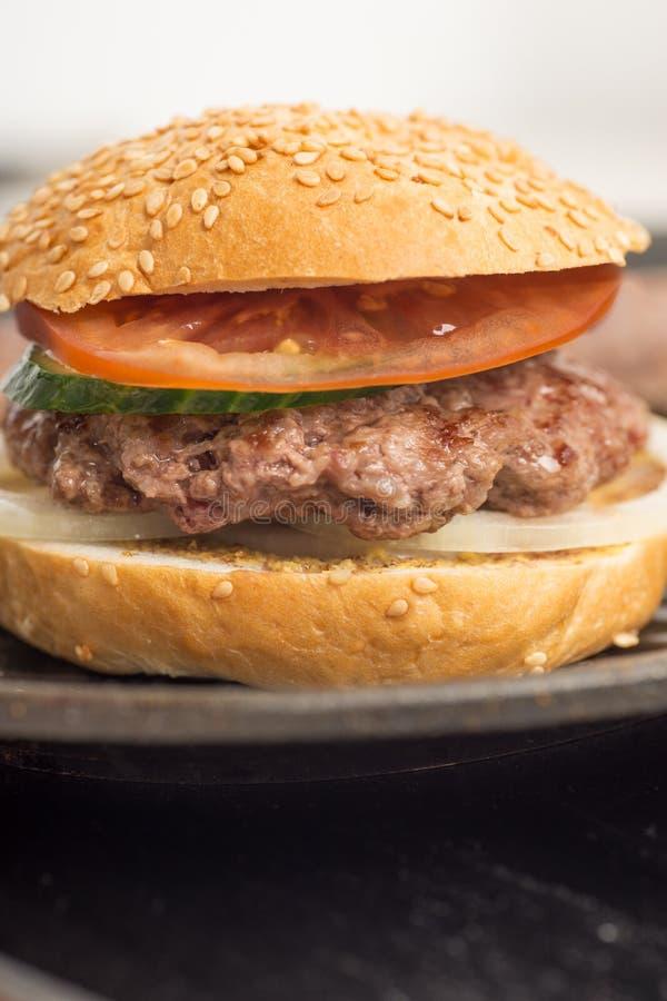 Smaklig och aptitretande hamburgareostburgare royaltyfri bild