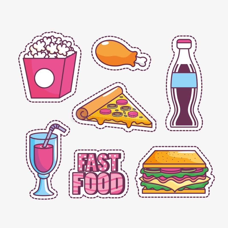 Smaklig och snabbmatdesign stock illustrationer