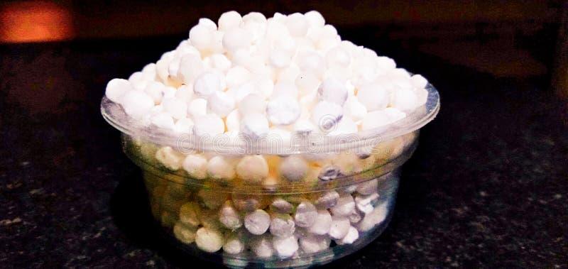Smaklig och sund mat för härlig vit sago royaltyfri foto