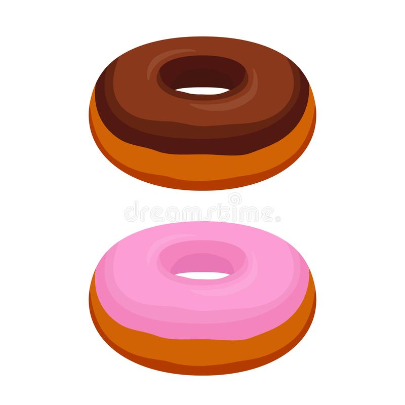 Smakliga donuts för vektor - choklad, rosa färg glasar Bakelse tecknad filmlägenhetstil royaltyfri illustrationer