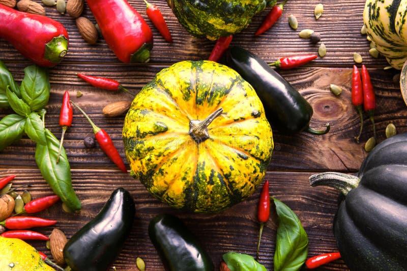 Smakliga grönsaker för höst, ljusa färger royaltyfri bild