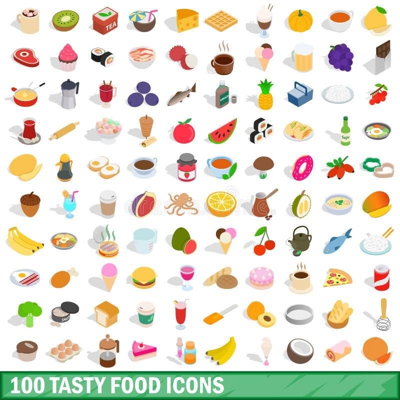 100 smakliga matsymboler ställde in, isometrisk stil 3d stock illustrationer