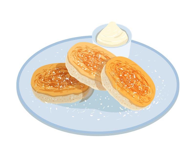 Smakliga pannkakor, oladyi eller syrniki som ligger på plattan med gräddfil som isoleras på vit bakgrund Aptitretande hemlagat må vektor illustrationer