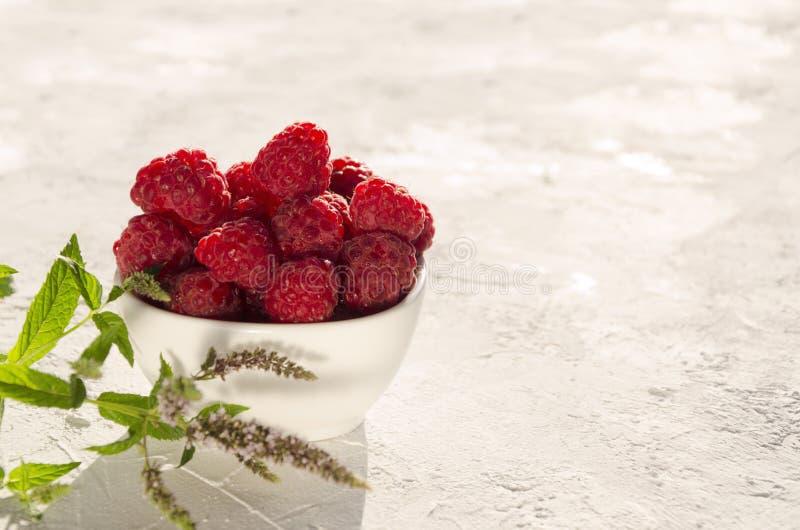Smakliga rasberries, mintkaramell på den vita yttersidan Tomt avst?nd f?r text royaltyfri bild