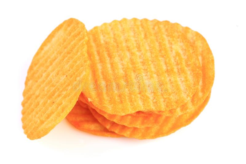 Smakliga ridged potatischiper fotografering för bildbyråer
