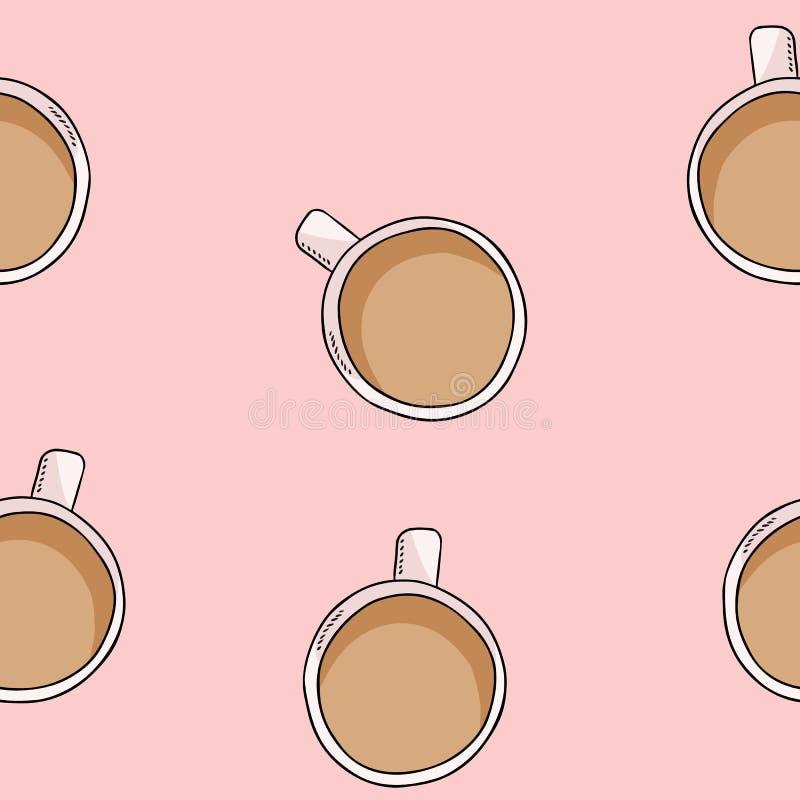 Smakligt kaffe eller te med mjölkar modellen för den gulliga tecknade filmen för drinken den sömlösa Texturbakgrundstegelplatta vektor illustrationer