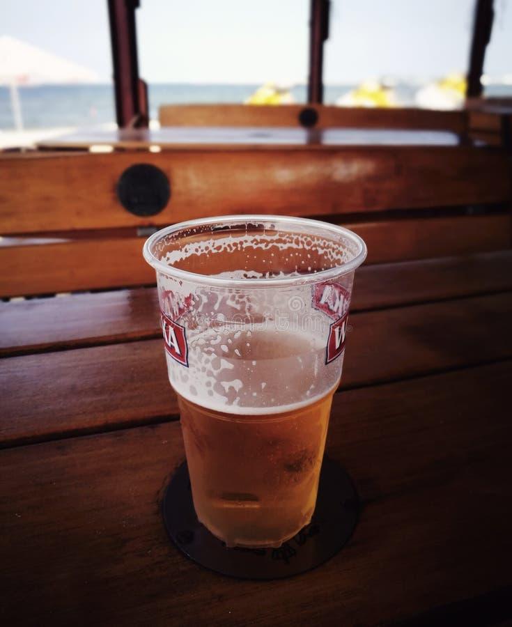 Smakligt kallt öl Konstnärlig blick i livliga färger för tappning royaltyfri fotografi