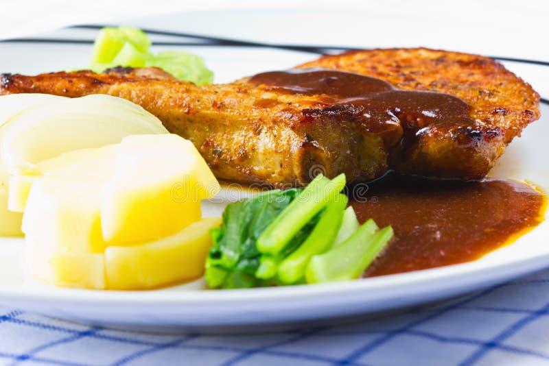 smakosz piec na grillu marynowany wieprzowiny ziobro stek fotografia stock