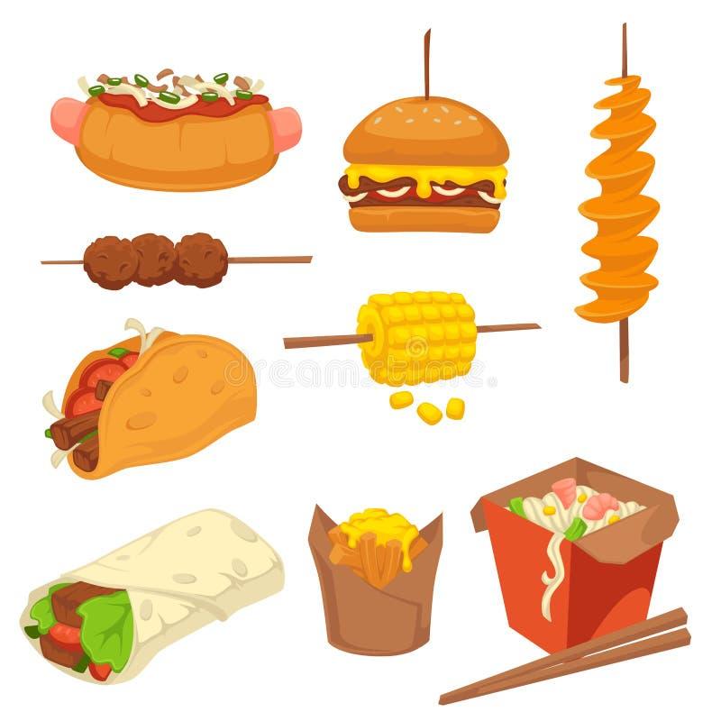 Smakowici świezi fastów food produkty z wysokimi kaloriami zrównują set ilustracji