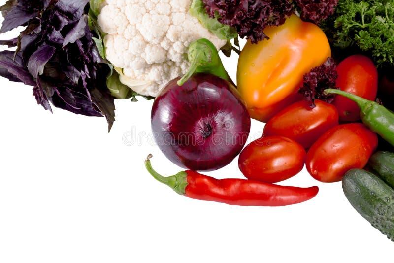 Smakowici świezi warzywa dla sałatkowego przygotowania odizolowywającego na bielu obraz stock