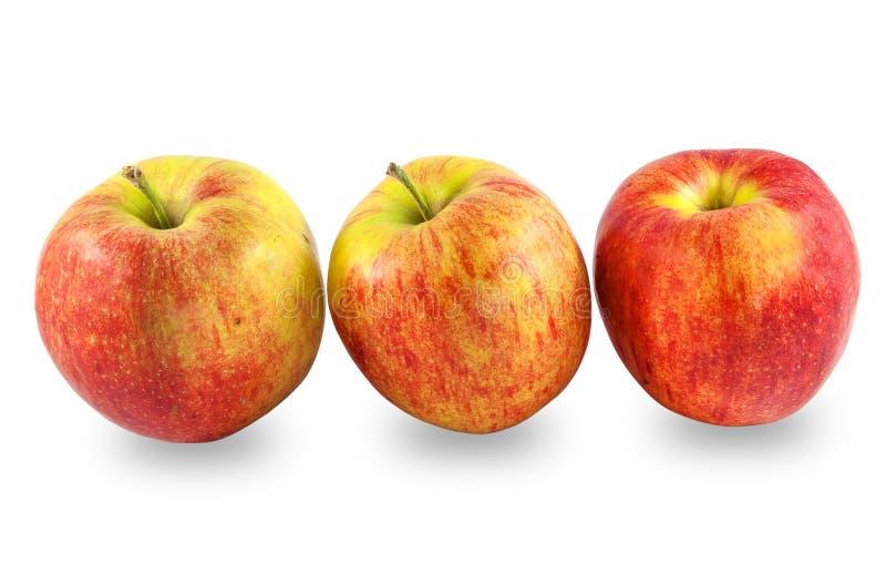 Smakowici dojrzali czerwoni jabłka, zamykają up na białym tle obrazy royalty free