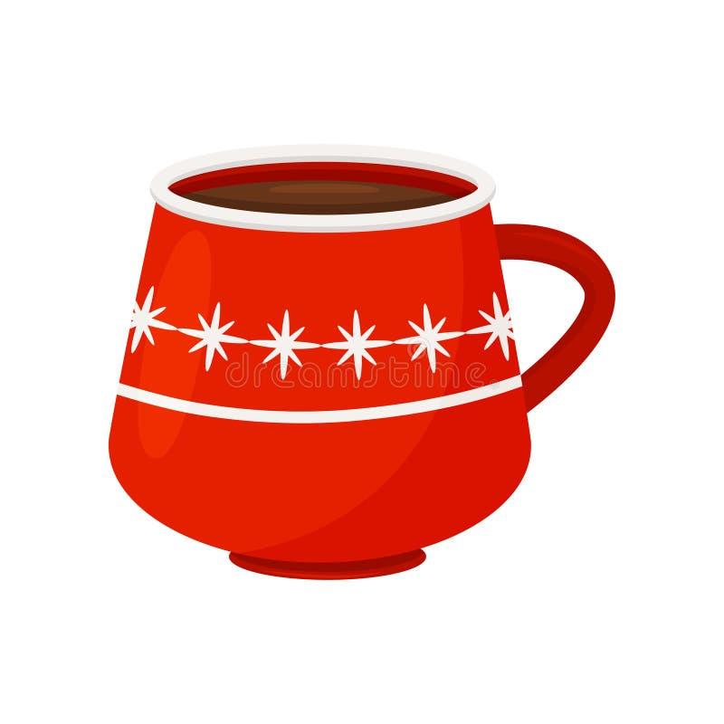 Smakowita gorąca czekolada lub kawa w jaskrawym czerwonym kubku Wakacyjny napój wyśmienicie napój Płaski wektorowy projekt royalty ilustracja